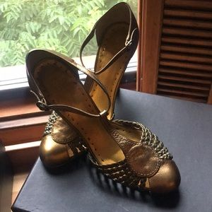 BCBGirls Gold Leather T-Strap Heels